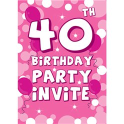 40th Birthday Invitation cards - Pink Sparkle  - Medium