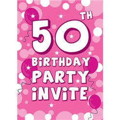 50th Birthday Invitation cards - Pink Sparkle  - Medium