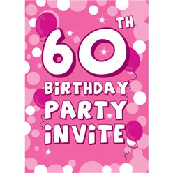 60th Birthday Invitation cards - Pink Sparkle  - Small
