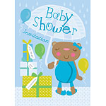 Baby Shower Invitation cards Mama Bear Blue - Medium