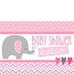 Baby Shower Invitation cards Pink Elephant - Medium