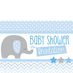Baby Shower Invitation cards Blue Elephant - Medium