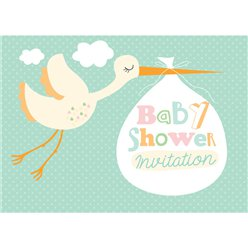 Baby Shower Invitation cards Stork - Medium