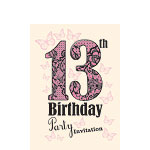 13th Birthday Invitation Cards - Butterfly Lace - Small