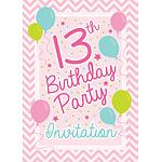 13th Birthday Invitation Cards - Pink Chevron - Medium