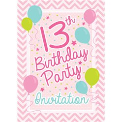 13th Birthday Invitation Cards - Pink Chevron - Small