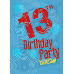 13th Birthday Invitation Cards - Blue Print - Medium