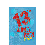 13th Birthday Invitation Cards - Blue Print - Small