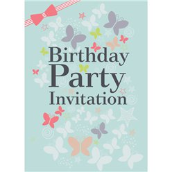 13th Birthday Invitation Cards - Butterflies - Medium