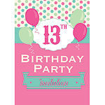 13th Birthday Invitation Cards - Poka Dot - Medium