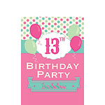 13th Birthday Invitation Cards - Poka Dot - Small