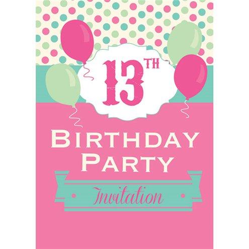 13th Birthday Invitation Cards Poka Dot Small