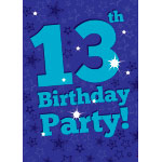 13th Birthday Invitation Cards - Blue Star - Medium