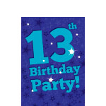 13th Birthday Invitation Cards - Blue Star -  Small