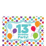 13th Birthday Invitation Cards - Multi Spot - Small