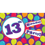 13th Birthday Invitation Cards - Balloons - Medium