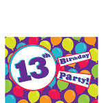 13th Birthday Invitation Cards - Balloons - Small