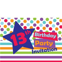 13th Birthday Invitation Cards - Star - Medium
