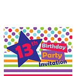 13th Birthday Invitation Cards - Star - Small
