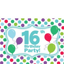 16th Birthday Invitation Cards - Multi Spot - Medium