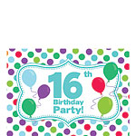 16th Birthday Invitation Cards - Multi Spot - Small