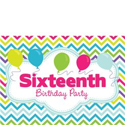 16th Birthday Invitation Cards - Multi Chevrons - Small