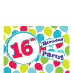 16th Birthday Invitation Cards - Balloons - Small