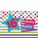 16th Birthday Invitation Cards - Star - Medium