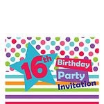 16th Birthday Invitation Cards - Star - Small