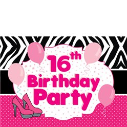 16th Birthday Invitation Cards - Zebra Spot - Small