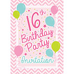 16th Birthday Invitation Cards - Pink Chevron - Medium