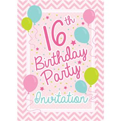 16th Birthday Invitation Cards - Pink Chevron - Small