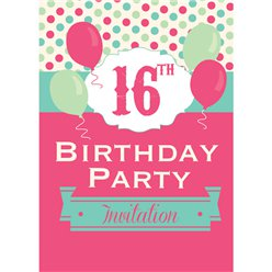 16th Birthday Invitation Cards - Poka Dot Spot - Medium
