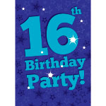 16th Birthday Invitation Cards - Blue Star - Medium
