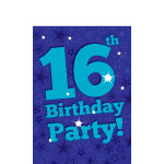 16th Birthday Invitation Cards - Blue Star - Small