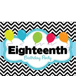 18th Birthday Invitation Cards - Black Chevron - Small