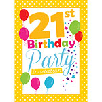 21st Birthday Invitation cards - Yellow Poka Dot - Medium