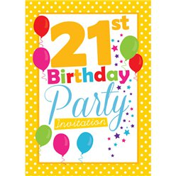 21st Birthday Invitation cards - Yellow Poka Dot - Small