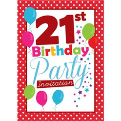 21st Birthday Invitation cards - Red Poka Dot - Small