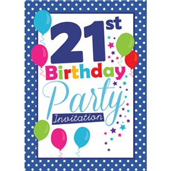 21st Birthday Invitation cards - Blue Poka Dot - Small