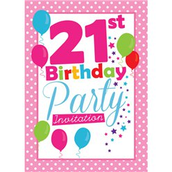 21st Birthday Invitation cards - Pink Poka Dot - Medium
