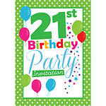 21st Birthday Invitation cards - Green Poka Dot - Medium
