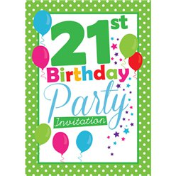 21st Birthday Invitation cards - Green Poka Dot - Small