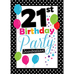 21st Birthday Invitation cards - Black Poka Dot - Medium