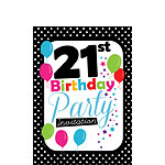 21st Birthday Invitation cards - Black Poka Dot - Small