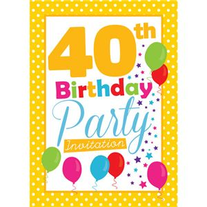 40th Birthday Invitation cards - Yellow Poka Dot - Medium