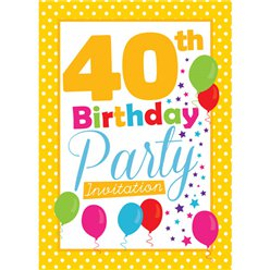 40th Birthday Invitation cards - Yellow Poka Dot - Small