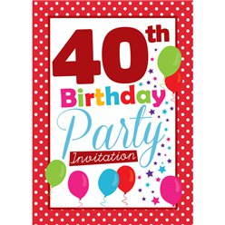40th Birthday Invitation cards - Red Poka Dot - Medium