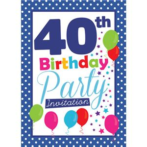 40th Birthday Invitation cards - Blue Poka Dot - Medium
