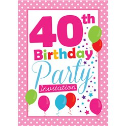 40th Birthday Invitation cards - Pink Poka Dot - Medium